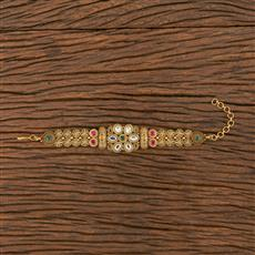 206251 Antique South Indian Bracelet With Matte Gold Plating