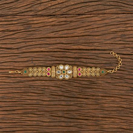 206251 Antique South Indian Bracelet With Matte Gold Plating