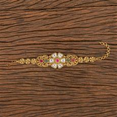 206253 Antique South Indian Bracelet With Matte Gold Plating