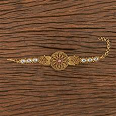 206254 Antique South Indian Bracelet With Matte Gold Plating