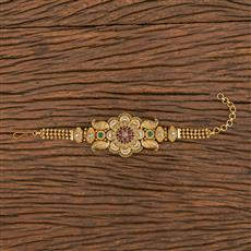 206255 Antique South Indian Bracelet With Matte Gold Plating