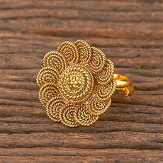 206267 Antique Plain Ring With Gold Plating