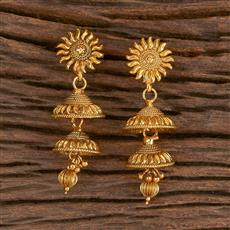 206275 Antique Jhumkis With Gold Plating