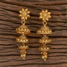 206276 Antique Plain Earring With Gold Plating