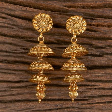 206277 Antique Jhumkis With Gold Plating