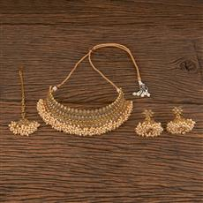 206288 Antique Mukut Necklace With Gold Plating