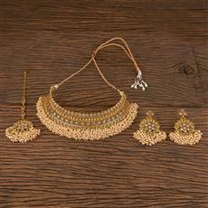206290 Antique Mukut Necklace With Gold Plating