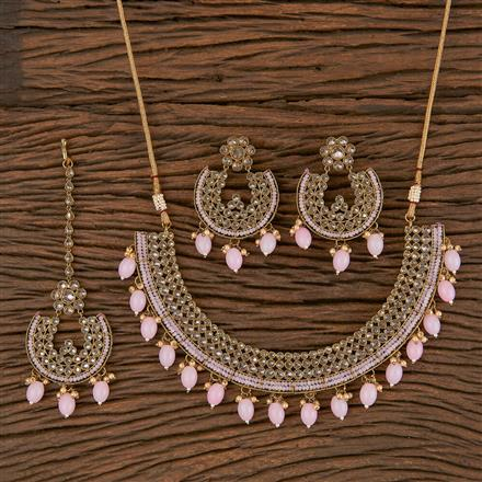 206296 Antique Classic Necklace With Mehndi Plating