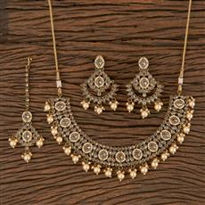 206298 Antique Classic Necklace With Mehndi Plating
