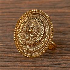 206326 Antique Temple Ring With Matte Gold Plating
