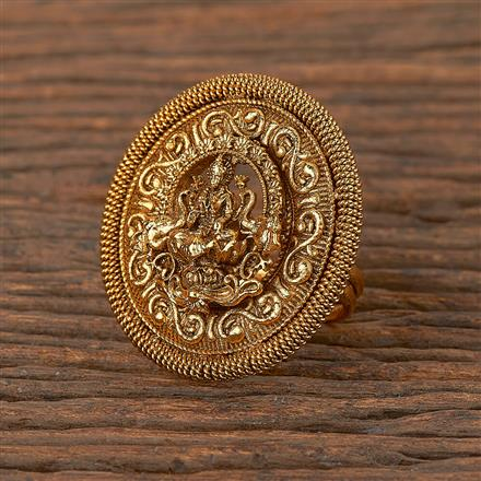 206327 Antique Temple Ring With Matte Gold Plating
