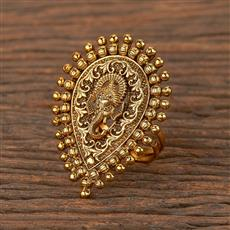 206328 Antique Temple Ring With Matte Gold Plating