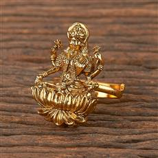 206330 Antique Temple Ring With Matte Gold Plating