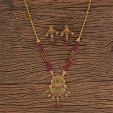 206332 Antique South Indian Pendant Set With Gold Plating