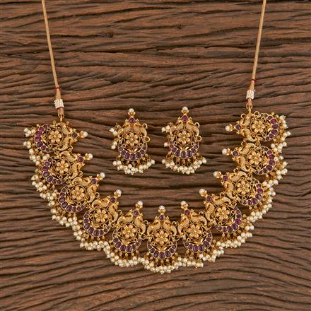 206337 Antique South Indian Necklace With Matte Gold Plating
