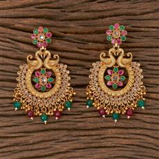 206341 Antique Peacock Earring With Gold Plating
