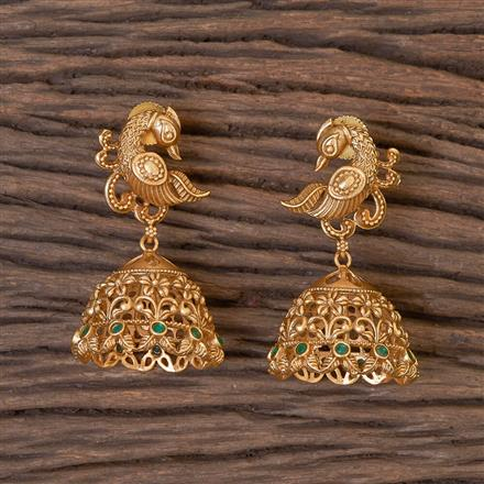 206342 Antique Peacock Earring With Matte Gold Plating