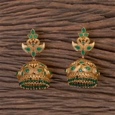 206343 Antique Peacock Earring With Matte Gold Plating