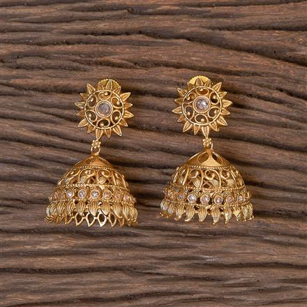 206344 Antique Jhumkis With Matte Gold Plating