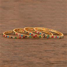 206345 Antique South Indian Bangles With Matte Gold Plating