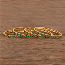 206346 Antique South Indian Bangles With Matte Gold Plating