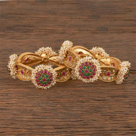 206347 Antique Openable Bangles With Matte Gold Plating