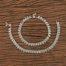 206359 Antique Classic Payal With Rhodium Plating
