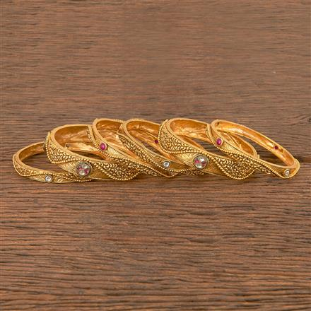 206369 Antique South Indian Bangles With Matte Gold Plating