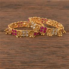 206370 Antique Openable Bangles With Matte Gold Plating