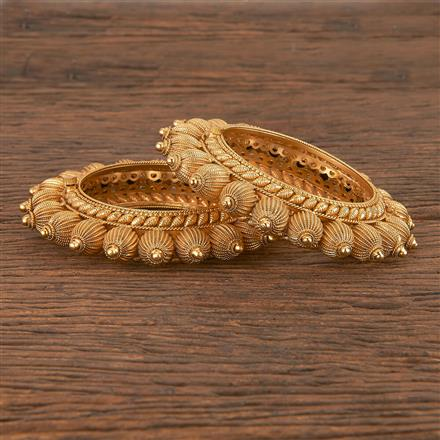 206389 Antique Openable Bangles With Matte Gold Plating