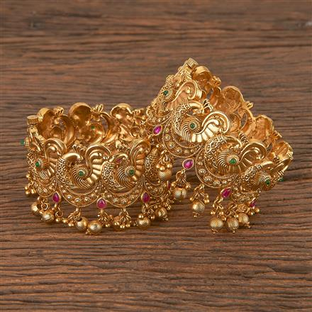 206390 Antique Peacock Bangles With Gold Plating