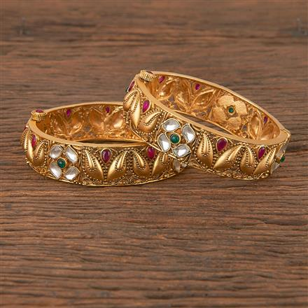 206395 Antique South Indian Bangles With Matte Gold Plating