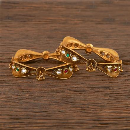 206399 Antique Openable Bangles With Matte Gold Plating