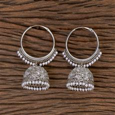 206401 Antique Jhumkis With Rhodium Plating