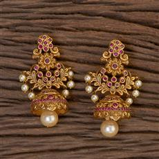 206410 Antique South Indian Earring With Matte Gold Plating