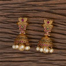 206411 Antique South Indian Earring With Matte Gold Plating