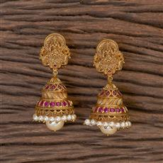 206412 Antique South Indian Earring With Matte Gold Plating