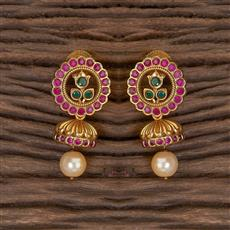 206413 Antique South Indian Earring With Matte Gold Plating