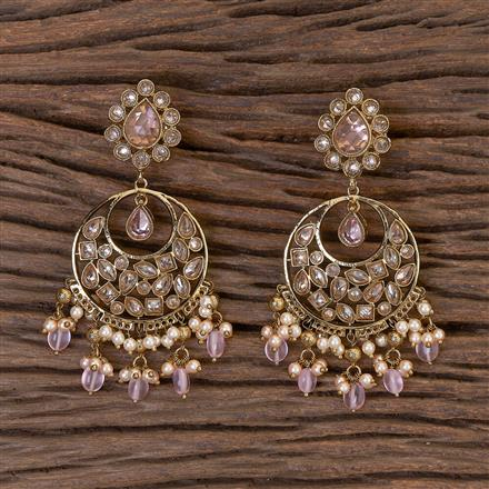 206414 Antique Chand Earring With Mehndi Plating