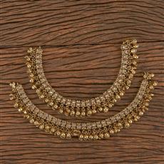 206421 Antique Ghungru Payal With Mehndi Plating