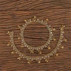 206423 Antique Ghungru Payal With Mehndi Plating
