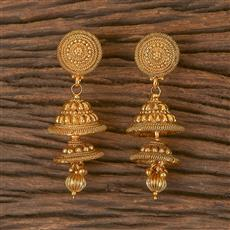 206430 Antique Jhumkis With Gold Plating