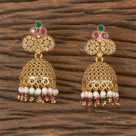 206437 Antique Jhumkis With Gold Plating