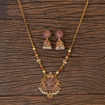 206438 Antique Peacock Pendant Set With Matte Gold Plating