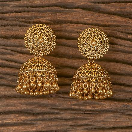206451 Antique Jhumkis With Gold Plating