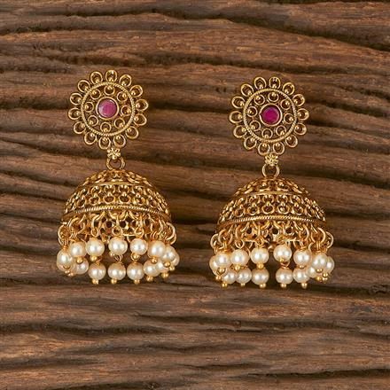 206454 Antique Plain Earring With Gold Plating
