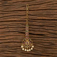 206455 Antique South Indian Tikka With Matte Gold Plating