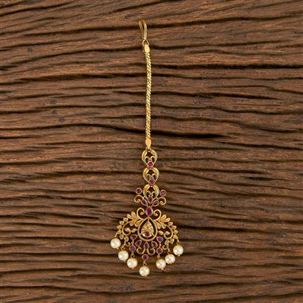 206459 Antique South Indian Tikka With Matte Gold Plating