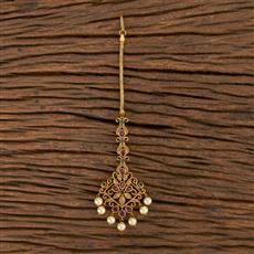 206460 Antique South Indian Tikka With Matte Gold Plating