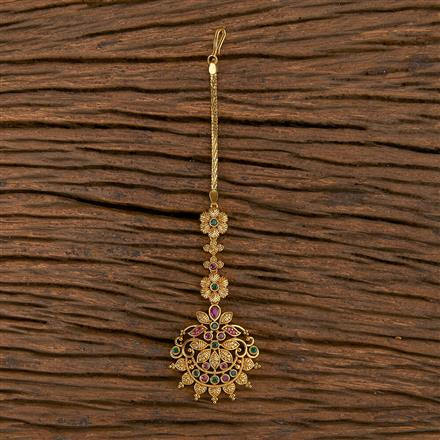 206462 Antique South Indian Tikka With Matte Gold Plating